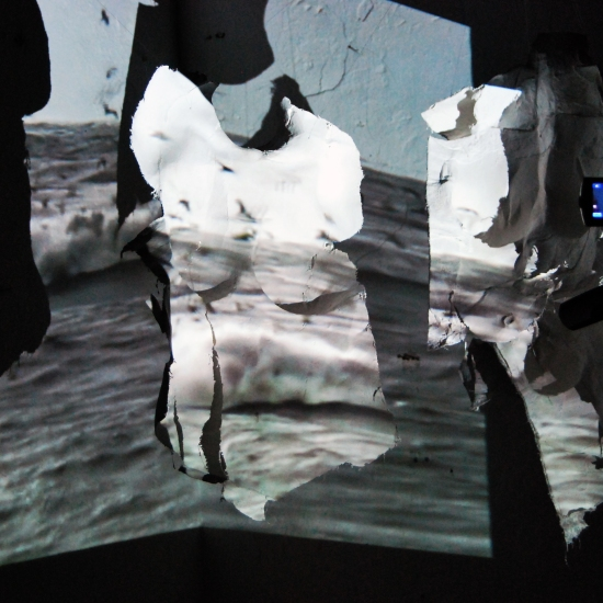 the Essence of Me: video projection on body cast