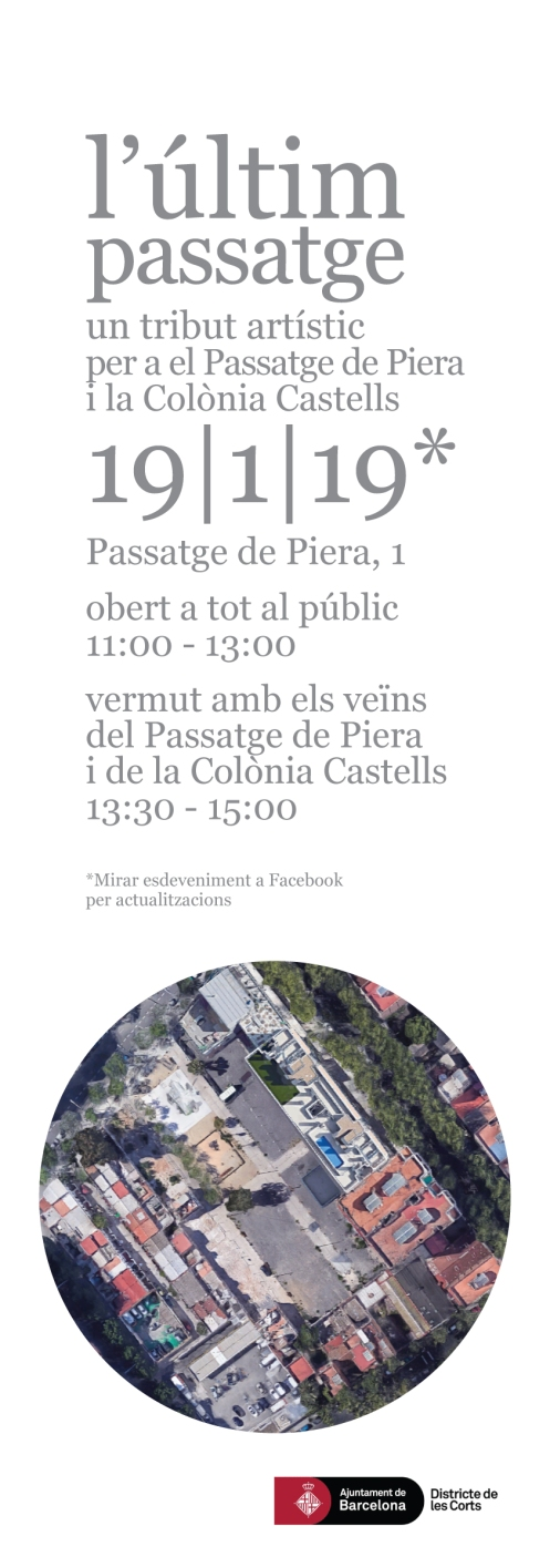 """""""L'últim passatge"""" - Un tributo artístico para los vecinos del Passatge de Piera y la Colònia Castells. https://alexiamedici.com/l-ultim-passatge"""
